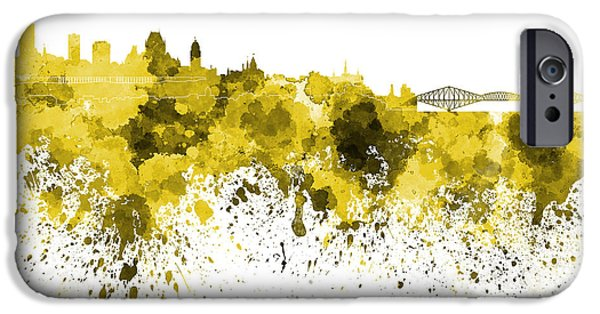 Quebec Paintings iPhone Cases - Quebec skyline in yellow watercolor on white background iPhone Case by Pablo Romero