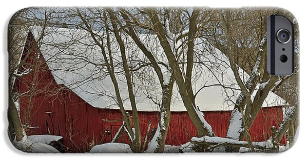 Red Barn In Winter iPhone Cases - Quebec Winter iPhone Case by Joshua McCullough