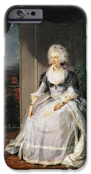 Pearls iPhone Cases - Queen Charlotte, 1789-90, Wife Of George Iii Oil On Canvas iPhone Case by Sir Thomas Lawrence