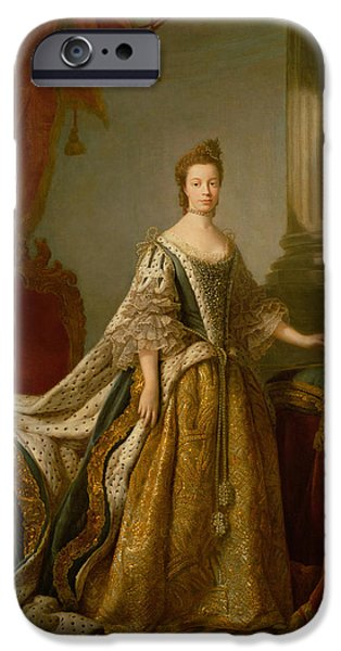 Royalty iPhone Cases - Queen Charlotte, C.1762-64 Oil On Canvas iPhone Case by Allan Ramsay