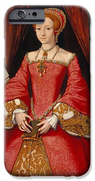 Queen Elizabeth iPhone Cases - Queen Elizabeth as a Princess iPhone Case by William Scrots