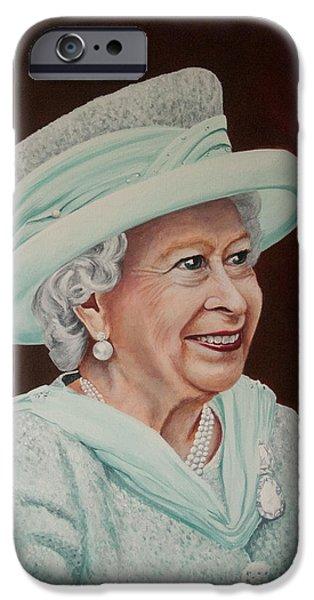 Queen Elizabeth iPhone Cases - Queen Elizabeth II 2012 iPhone Case by Karen  Loughridge