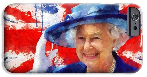 Queen Elizabeth iPhone Cases - Queen Elizabeth II iPhone Case by Victor Gladkiy