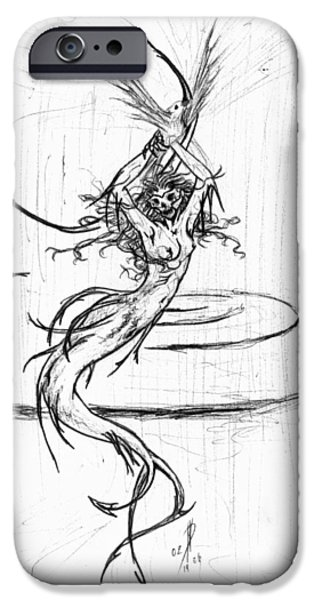 Extinct And Mythical Drawings iPhone Cases - Queen iPhone Case by Kd Neeley