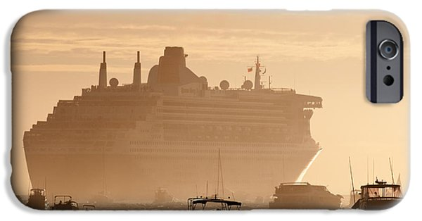 Boat Cruise iPhone Cases - Queen Mary 2 Leaving Port 02 iPhone Case by Rick Piper Photography