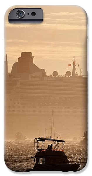 Queen Mary 2 Leaving Port 02 iPhone Case by Rick Piper Photography