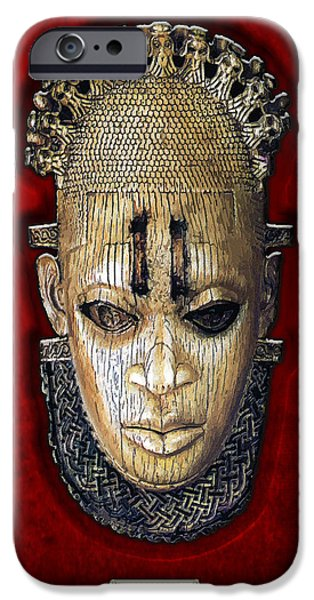 Queen Mother Idia - Ivory Hip Pendant Mask - Nigeria - Edo Peoples - Court of Benin on Red Velvet iPhone Case by Serge Averbukh