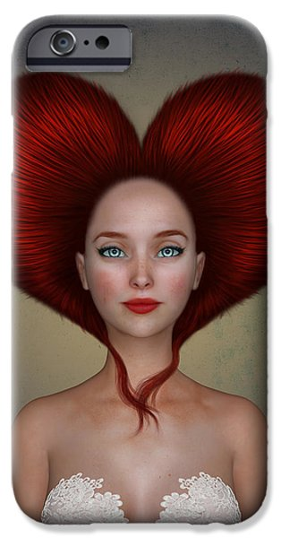 Surrealism Digital Art iPhone Cases - Queen of Hearts iPhone Case by Britta Glodde