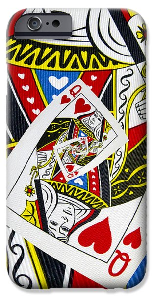 Queen Of Hearts iPhone Cases - Queen Of Hearts Collage iPhone Case by Kurt Van Wagner