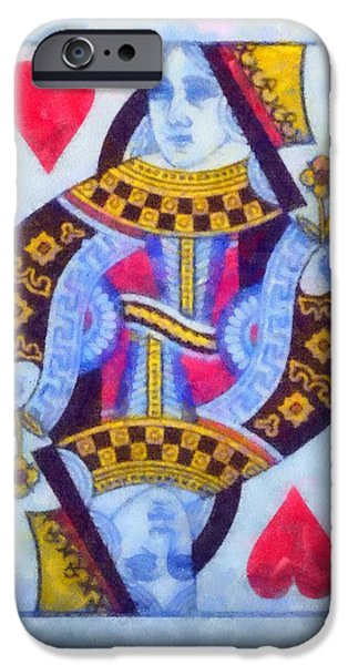 The Houses Mixed Media iPhone Cases - Queen Of Hearts iPhone Case by Dan Sproul