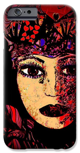 Spiritual Portrait Of Woman iPhone Cases - Queen Of Hearts iPhone Case by Natalie Holland