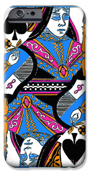 Wing Chee Tong iPhone Cases - Queen of Spades - v3 iPhone Case by Wingsdomain Art and Photography