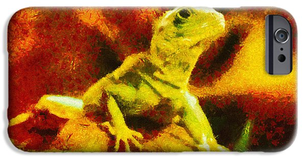 Chameleon iPhone Cases - Queen of the Reptiles iPhone Case by Ayse Deniz