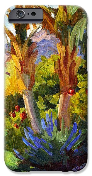Canyons Paintings iPhone Cases - Queen Palms iPhone Case by Diane McClary