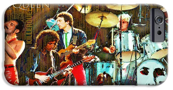 Bands On Stage iPhone Cases - Queen iPhone Case by Tony Rubino