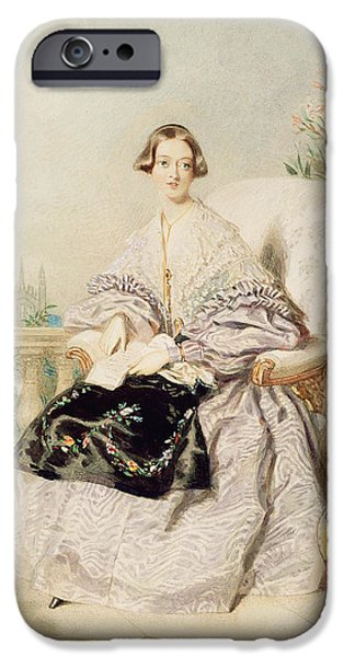 Balcony iPhone Cases - Queen Victoria, 1838 Wc On Paper iPhone Case by Alfred-Edward Chalon