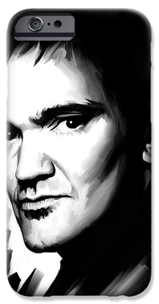 Celebrities Art iPhone Cases - Quentin Tarantino Artwork 2 iPhone Case by Sheraz A