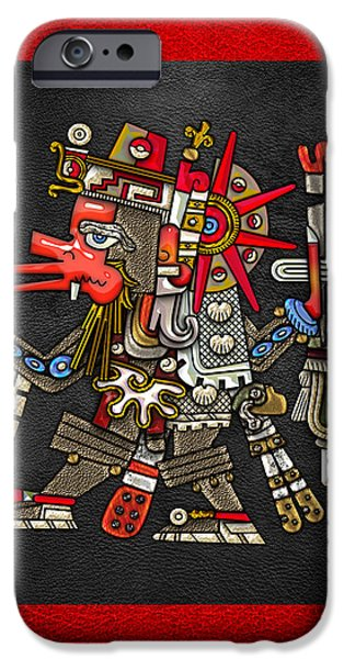 Quetzalcoatl in human warrior form - Codex Borgia iPhone Case by Serge Averbukh