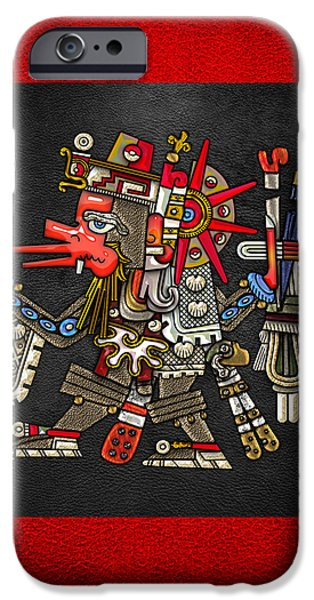 Serpent iPhone Cases - Quetzalcoatl in human warrior form - Codex Borgia iPhone Case by Serge Averbukh