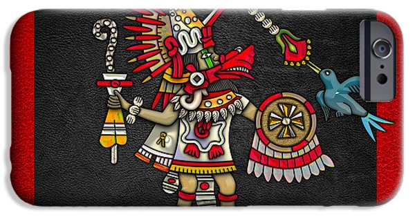 Serpent iPhone Cases - Quetzalcoatl in human warrior form - Codex Magliabechiano iPhone Case by Serge Averbukh