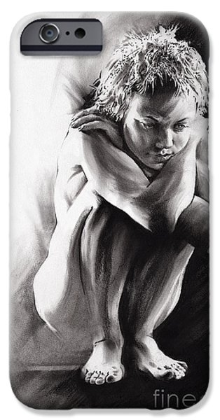 Contemplative Drawings iPhone Cases - Quiescent II iPhone Case by Paul Davenport