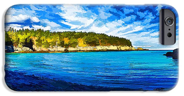 Coastal Decor Digital Art iPhone Cases - Quiet Cove at Cutler - Painterly iPhone Case by Bill Caldwell -        ABeautifulSky Photography