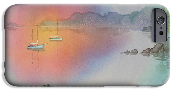 Sailboats iPhone Cases - Quiet Cove iPhone Case by Teresa Ascone