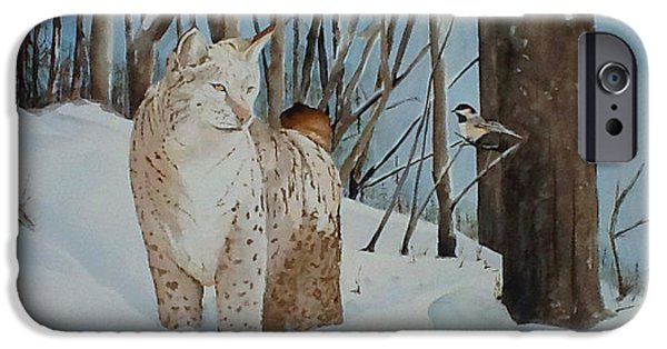 Bobcats Paintings iPhone Cases - Quiet Forest iPhone Case by Harold Teel