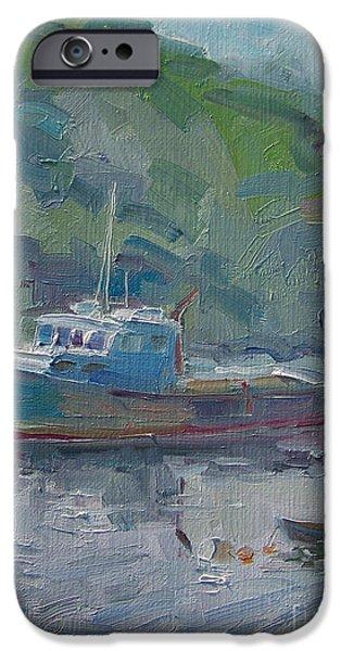 Boat iPhone Cases - Quiet Harbor iPhone Case by Jody  Regan