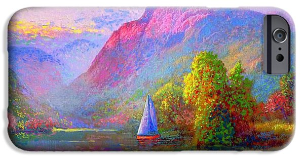Sail Boat iPhone Cases - Quiet Haven iPhone Case by Jane Small