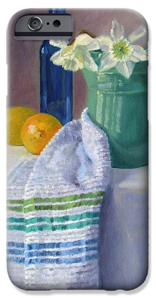 Old Pitcher Paintings iPhone Cases - Quiet Moment- Daffodils in a Blue Green Pitcher with Lemons iPhone Case by Bonnie Mason