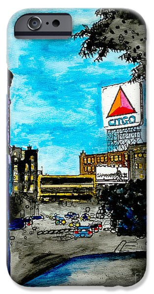 Red Sox Paintings iPhone Cases - Quiet Night Outside of Fenway iPhone Case by Rob Monte