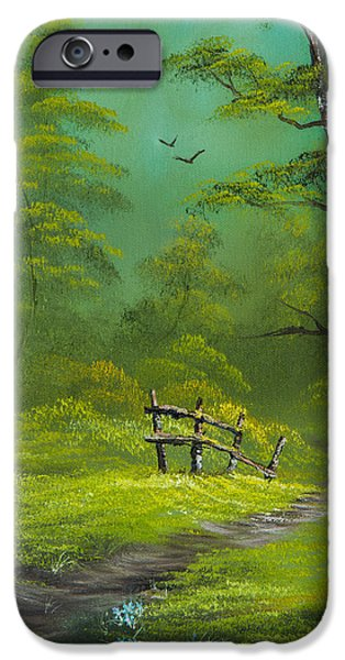 Bob Ross Paintings iPhone Cases - Quiet Trail iPhone Case by C Steele
