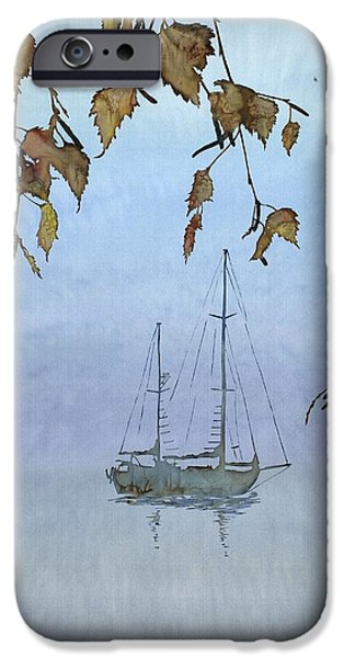Sailboat Ocean Tapestries - Textiles iPhone Cases - Quiet Water iPhone Case by Carolyn Doe