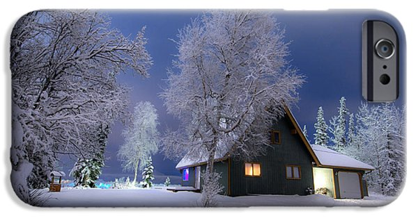 Snowy Night iPhone Cases - Quiet Winter Times iPhone Case by Ron Day
