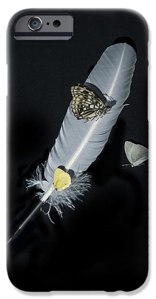 Quill iPhone Cases - Quill With Butterflies iPhone Case by Joana Kruse