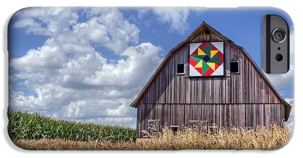 Quilt Blue Blocks iPhone Cases - Quilt Barn - Double Windmill iPhone Case by Nikolyn McDonald