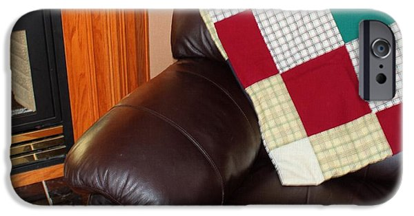 Quilts For Sale iPhone Cases - Quilt Beside a Fireplace iPhone Case by Barbara Griffin