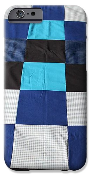 Quilt Blue Blocks iPhone Case by Barbara Griffin