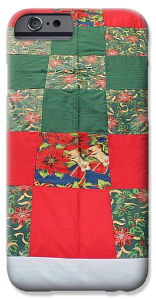Quilt Christmas Blocks iPhone Case by Barbara Griffin