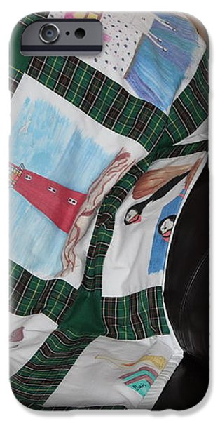Quilt Newfoundland Tartan Green Posts iPhone Case by Barbara Griffin