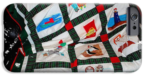 Transportation Tapestries - Textiles iPhone Cases - Quilt Newfoundland Tartan Red Posts iPhone Case by Barbara Griffin