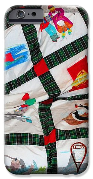 Quilt Newfoundland Tartan Red Posts iPhone Case by Barbara Griffin