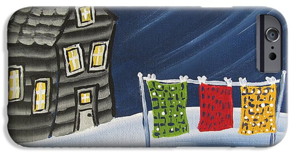 Cabin Window Paintings iPhone Cases - Quilts-cloths line-Crooked Cabin iPhone Case by Beverly Livingstone