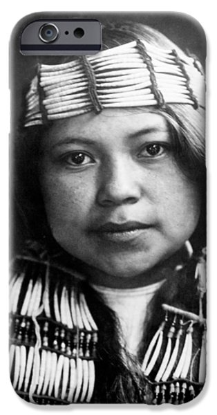 Quinault Indian girl circa 1913 iPhone Case by Aged Pixel