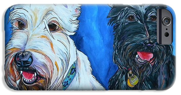 Black Dog iPhone Cases - Quincy And Kramer iPhone Case by Patti Schermerhorn