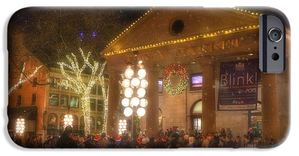 City. Boston iPhone Cases - Quincy Market at Night with Snow - Boston iPhone Case by Joann Vitali
