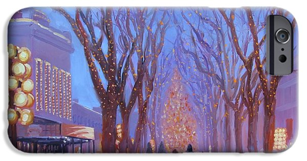 Trees In Snow iPhone Cases - Quincy Market at Twilight iPhone Case by Laura Lee Zanghetti