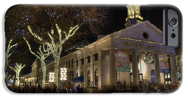 Bare Tree iPhone Cases - Quincy Market Boston Massachusetts iPhone Case by Juli Scalzi