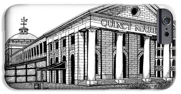 Boston Ma Drawings iPhone Cases - Quincy Market iPhone Case by Conor Plunkett